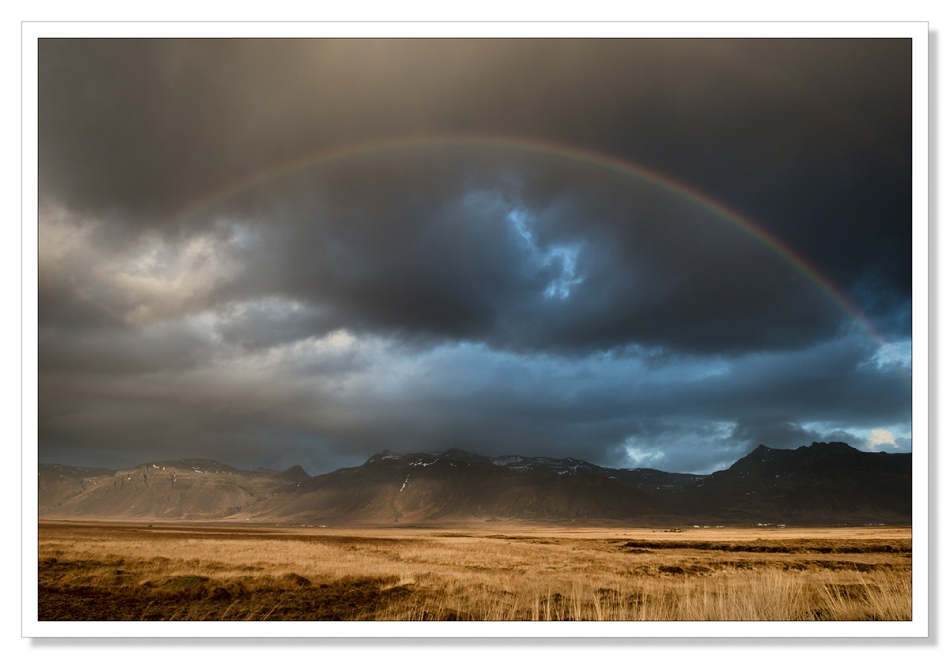 Rainbow, Iceland, waiting for the light, Mountains, rain and cloud, sunshine and showers, landscape