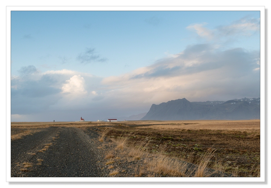 Landscape photograph Fáskrúðarbakkakirkja, church, Iceland, mountains, waiting for the light