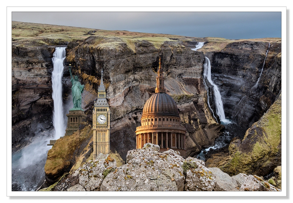 Haifoss with statue of Liberty, Big Ben and St Paul's Cathedral