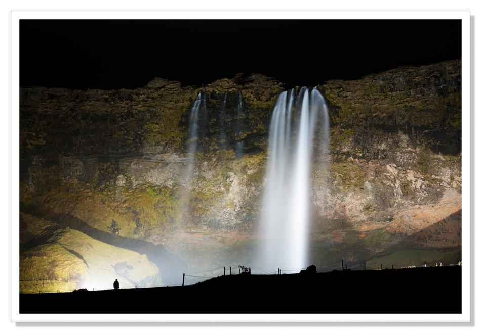 Seljalandfoss, seljalandsfoss waterfall at night, silhouette
