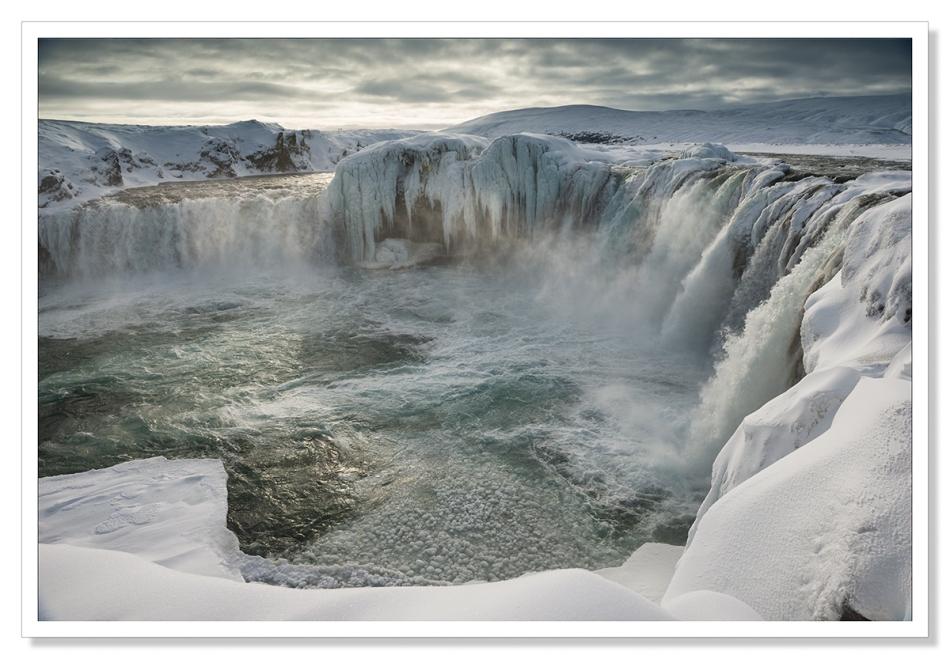 Godafoss frozen in Winter