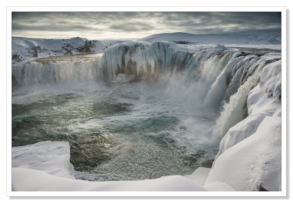 Godafoss frozen in Winter
