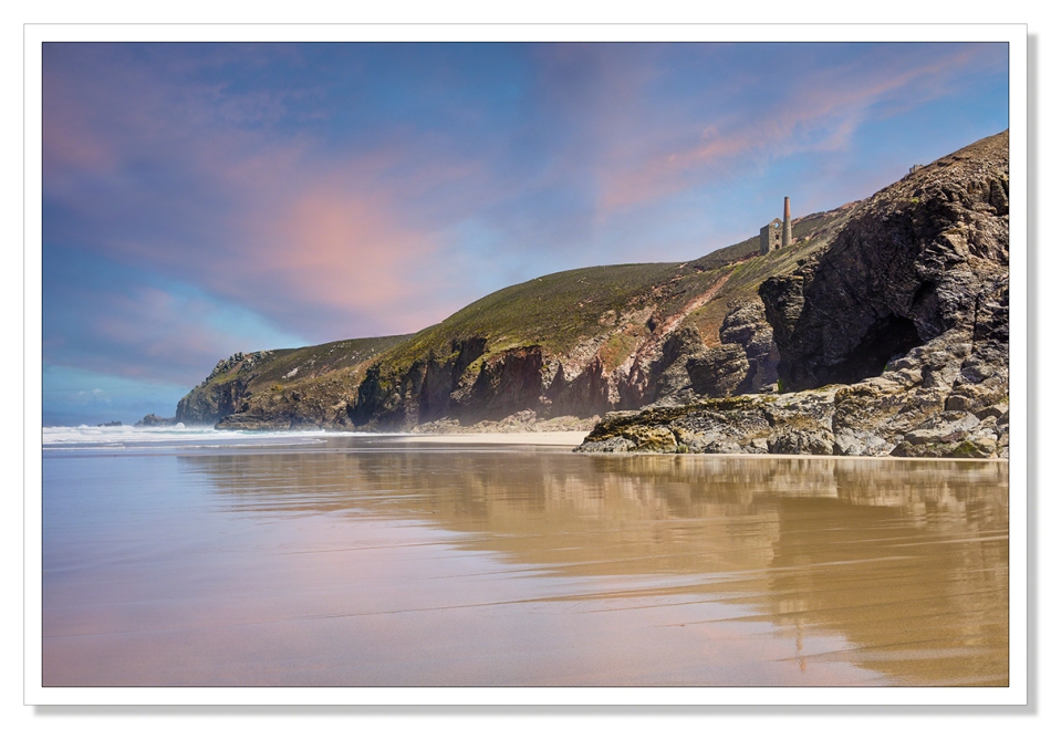 This is a photograph of the Wheal Coates engine house from the beach at Chapel Porth
