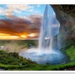 Seljalandsfoss waterfall, Iceland, at Sunset