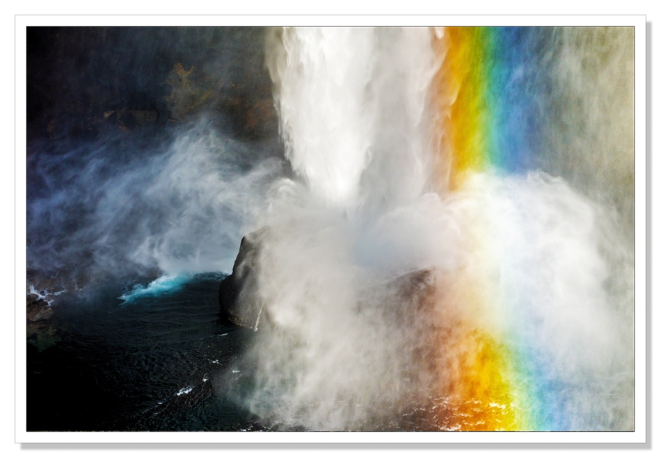 A picture of the rainbow created in the mist at the foot of Haifoss, Iceland's second highest waterfall by Adrian Theze